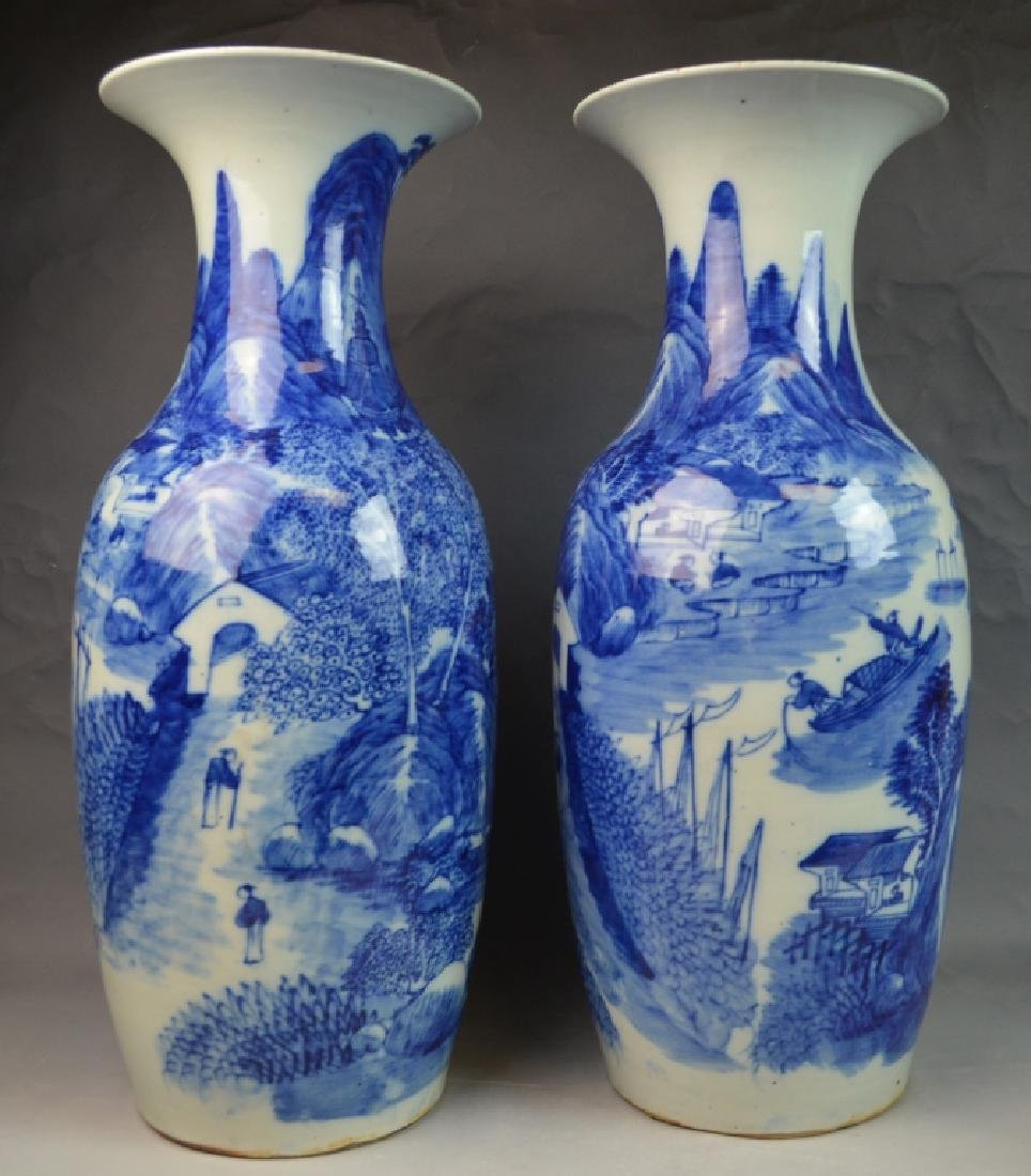 Large Pair of Chinese Blue and White Vase 19th C
