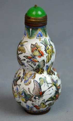 Chinese Cloisonne Double-gourd Shape Snuff Bottle