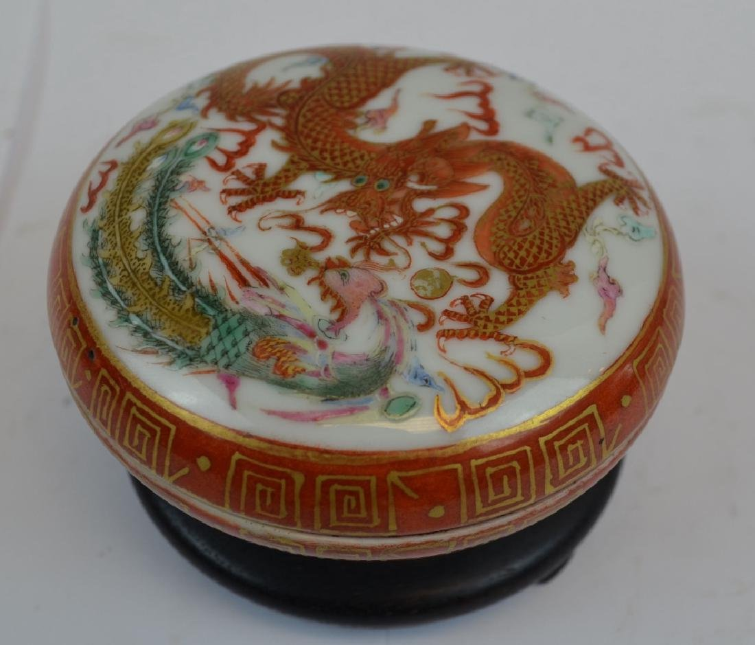 Chinese Iron Red Dragon Ink Box