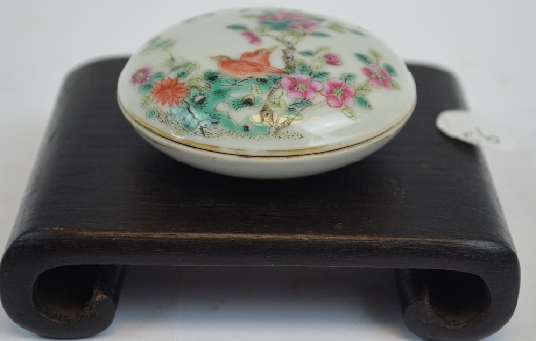 Chinese Famille Rose Bird Porcelain Ink Box