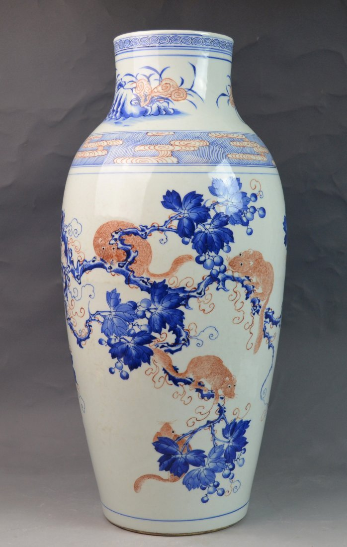 Chinese Blue and White Iron-red Porcelain Vase