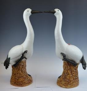 Pair of Chinese Porcelain Swans