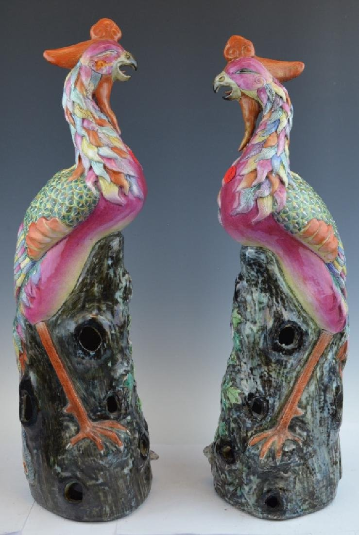 Pair of Chinese Porcelain Phoenixes