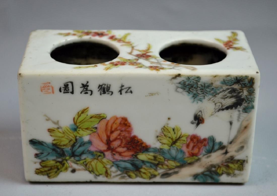 Chinese Rectangular Famille Rose Brush Pot