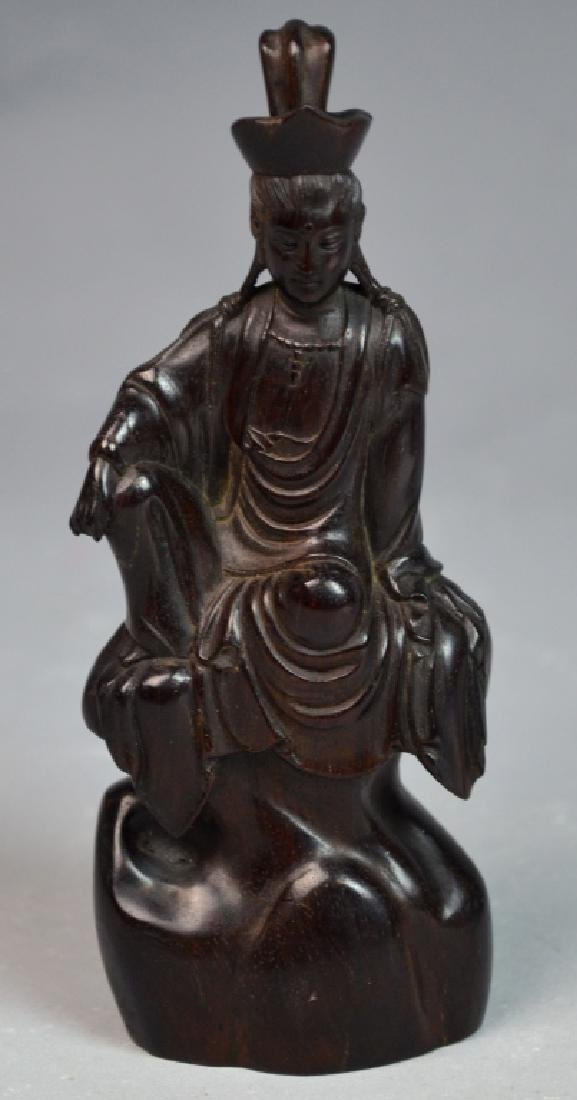 Chinese zitan wooden Carved guanyin