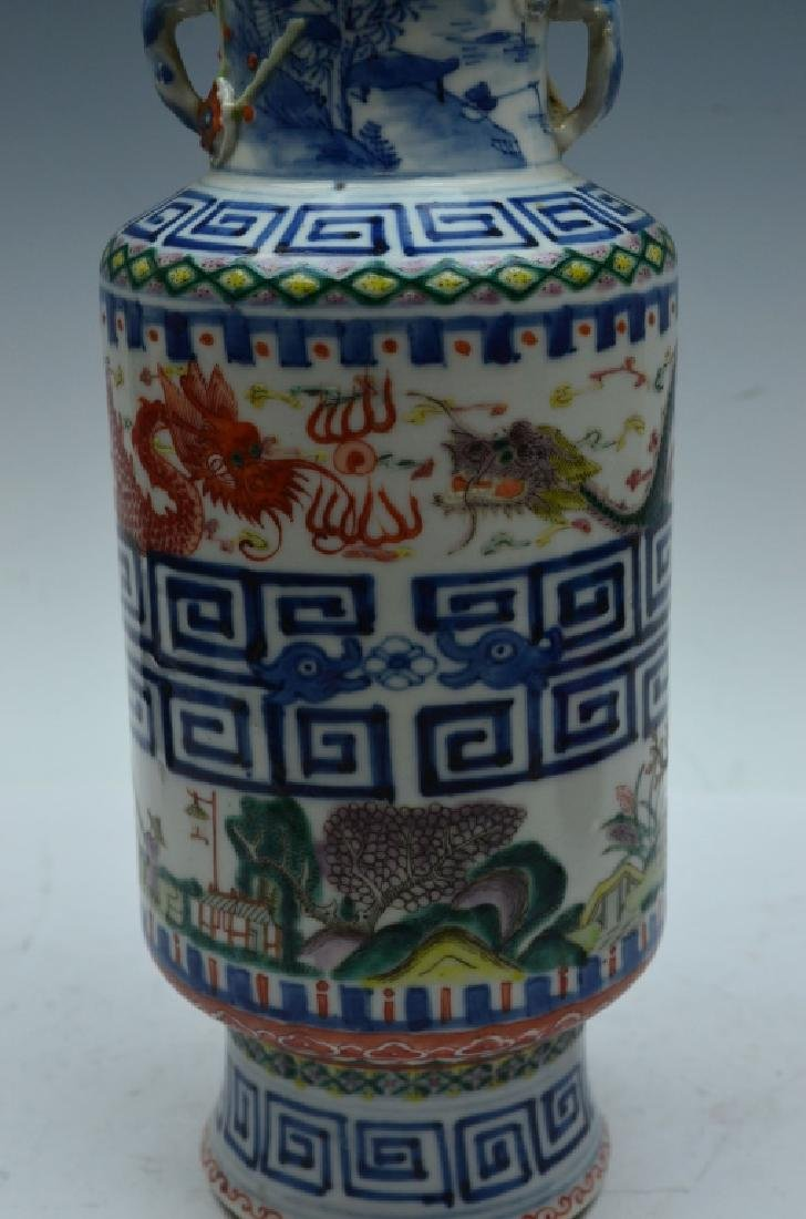 Chinese Famille Verte Porcelain Vase with Handles - 3