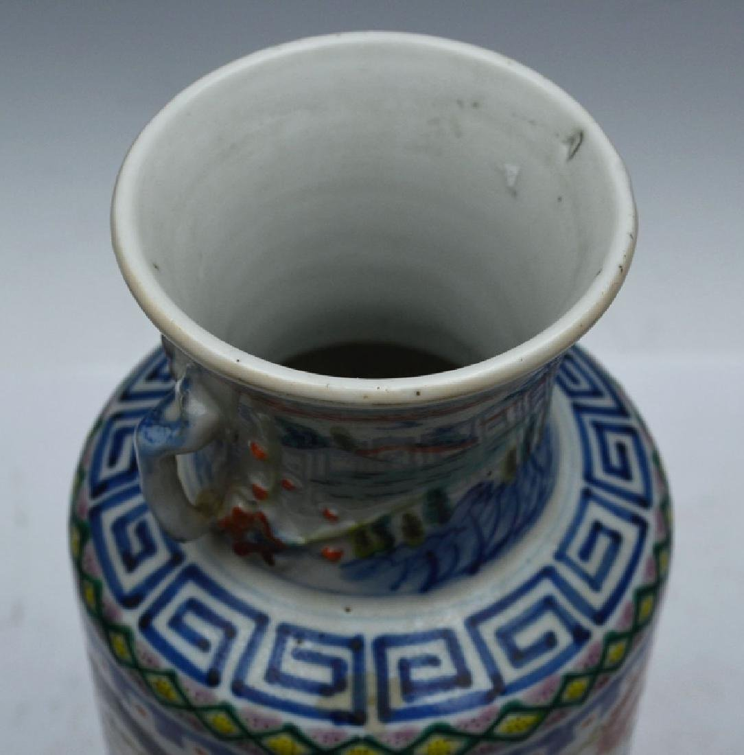 Chinese Famille Verte Porcelain Vase with Handles - 4