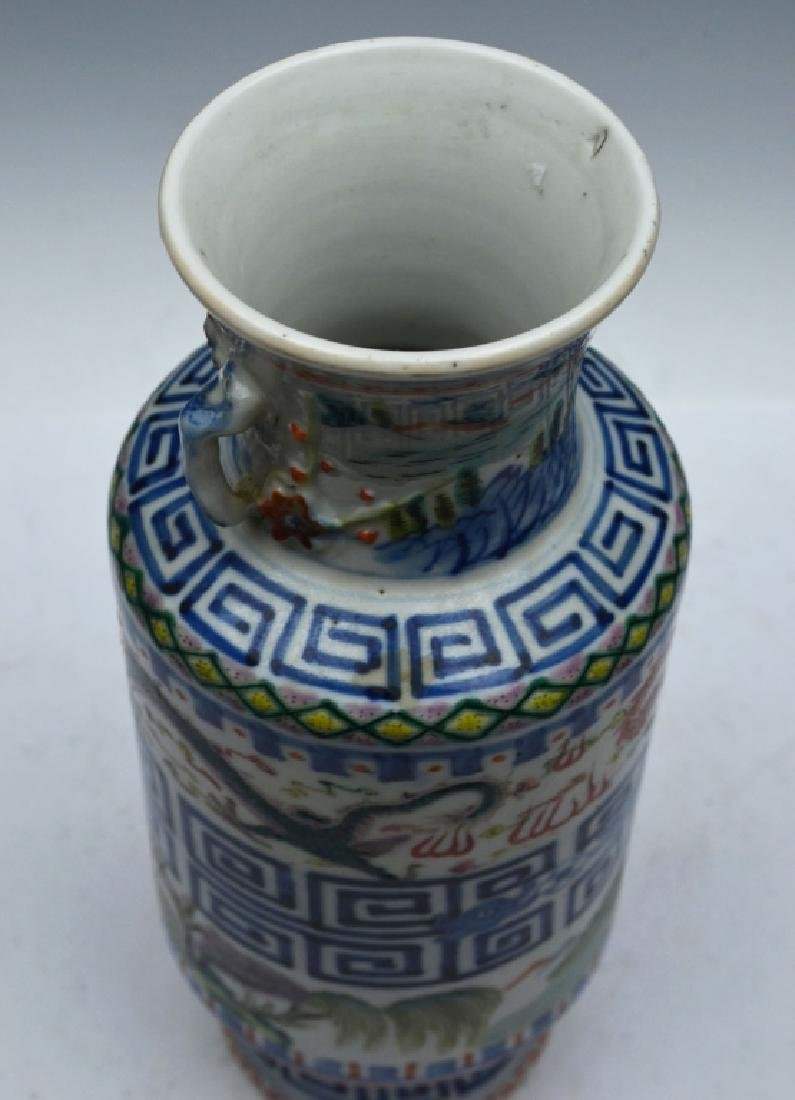 Chinese Famille Verte Porcelain Vase with Handles - 5