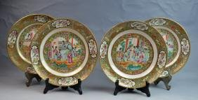 4 Chinese Rose Medallion Porcelain Plates