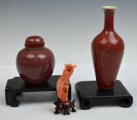 Three Chinese Porcelain Vases and Coral Figure