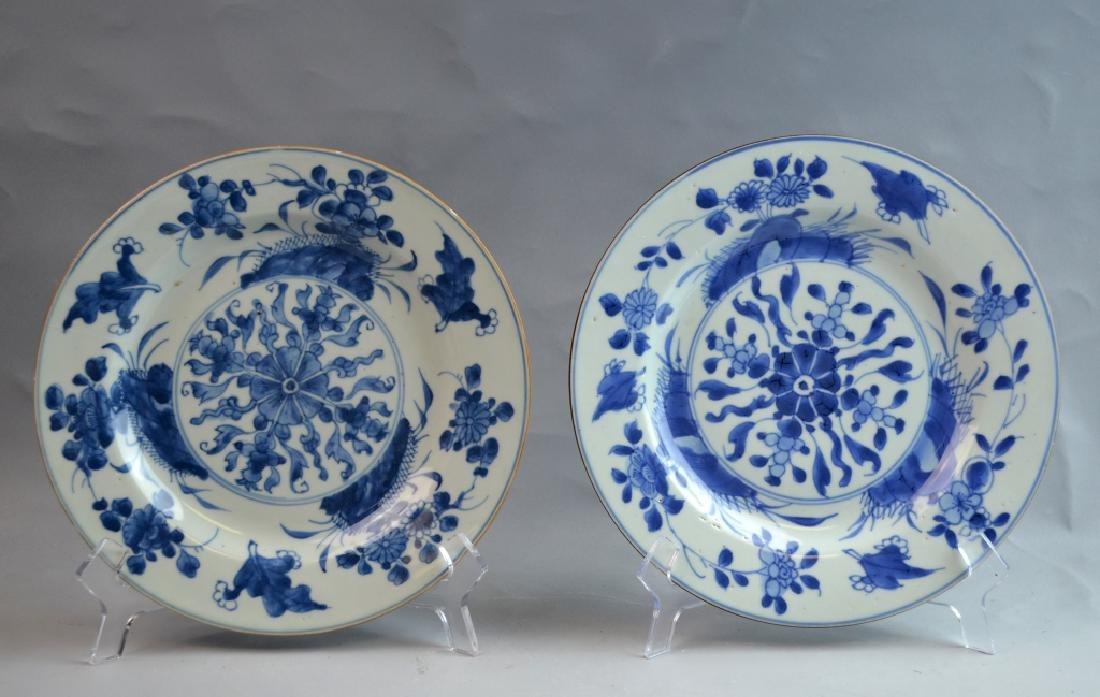 Pair Chinese Export Porcelain Plates with Flowers