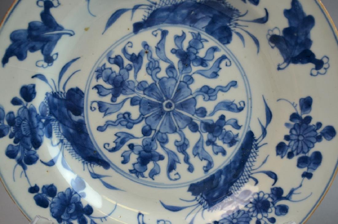 Pair Chinese Export Porcelain Plates with Flowers - 2