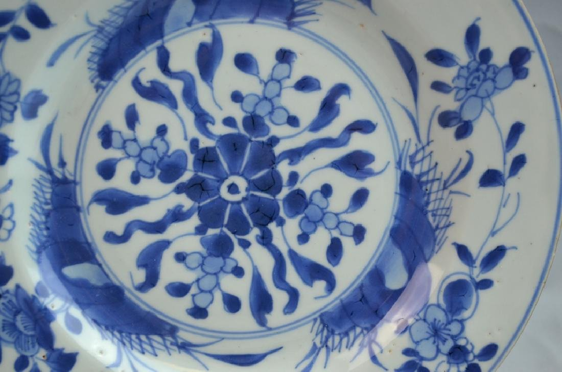 Pair Chinese Export Porcelain Plates with Flowers - 3