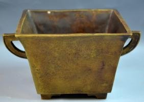 Chinese Bronze Cast Square Censer with Handles