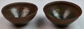 """Two Chinese Jian Ware """"Hare's Fur"""" Porcelain Bowl"""