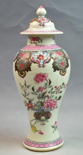 Chinese Famille Rose Porcelain Jar with Cover