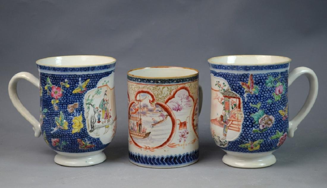 3 Pieces Chinese Export Porcelain Mugs