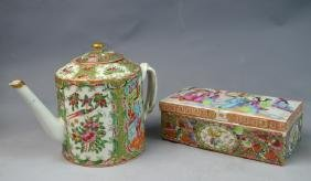 Chinese Rose Medallion Porcelain Teapot and Box