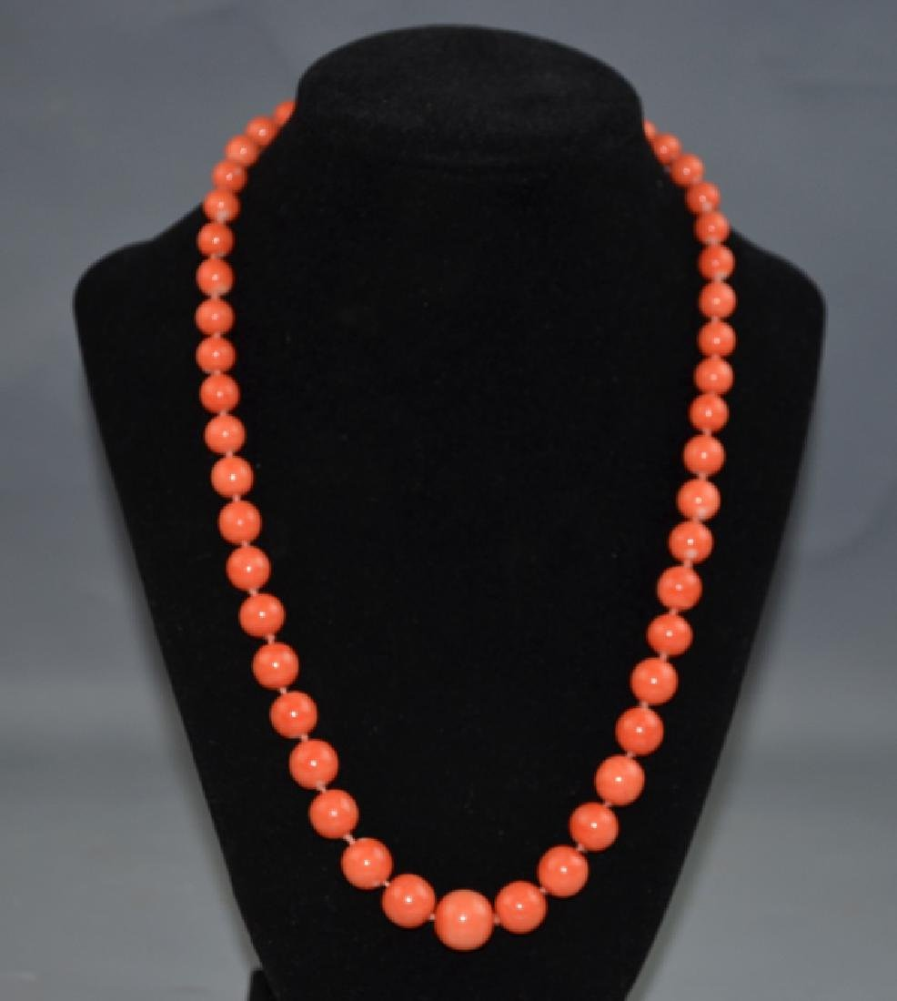 Coral Necklace with 14 K Gold Clasp