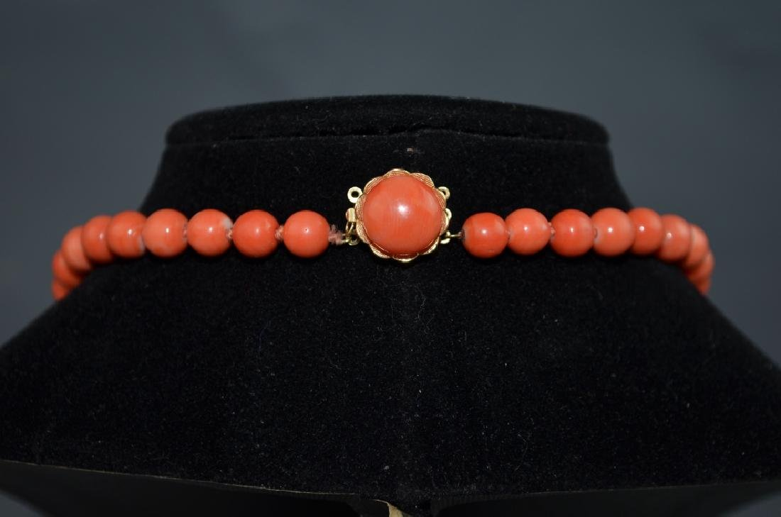 Coral Necklace with 14 K Gold Clasp - 4