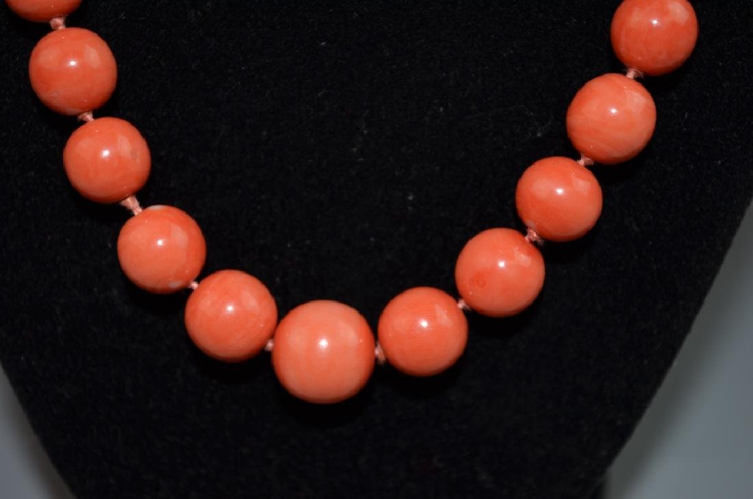 Coral Necklace with 14 K Gold Clasp - 5