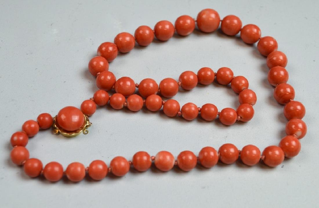 Coral Necklace with 14 K Gold Clasp - 6