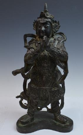 Chinese Bronze Figure of Heavenly King