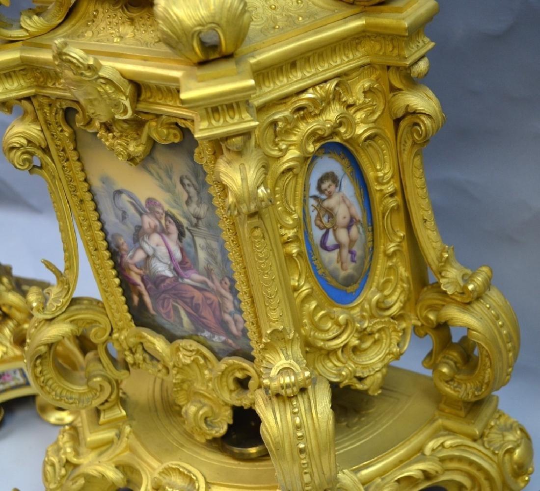 French Gilt Bronze & Enamel Clock Set - 10