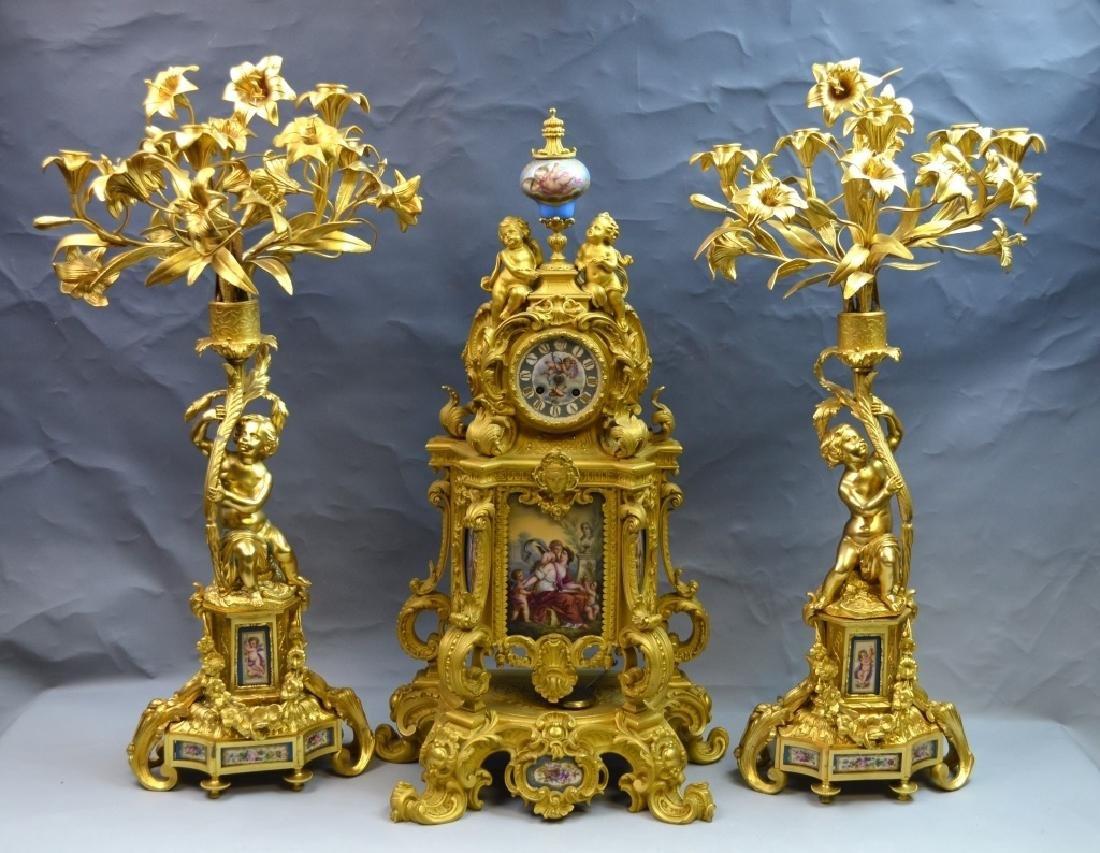 French Gilt Bronze & Enamel Clock Set