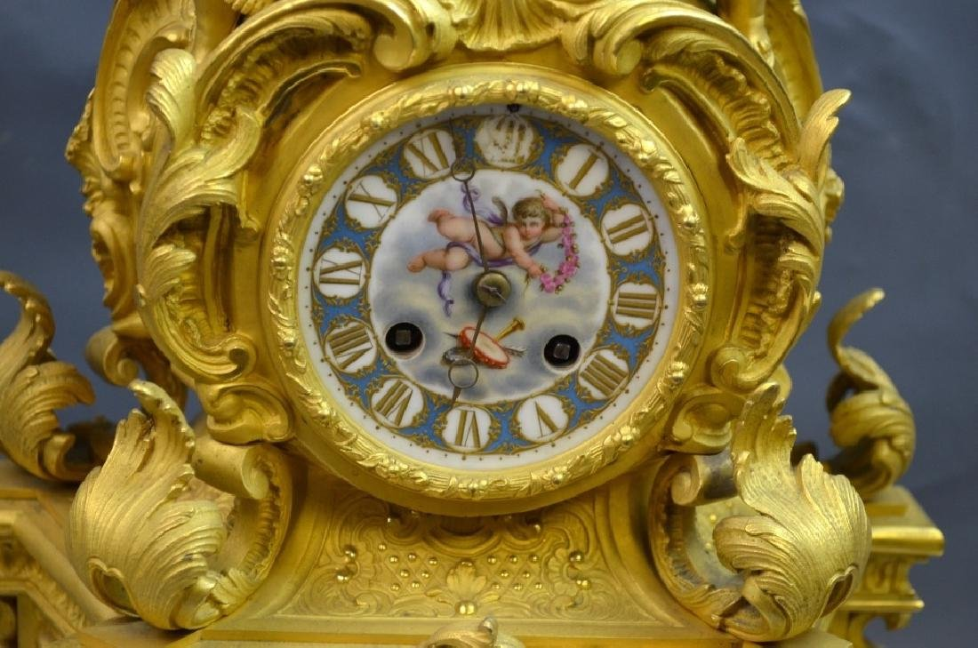 French Gilt Bronze & Enamel Clock Set - 2