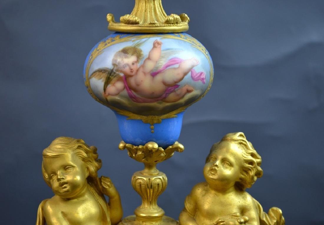 French Gilt Bronze & Enamel Clock Set - 3