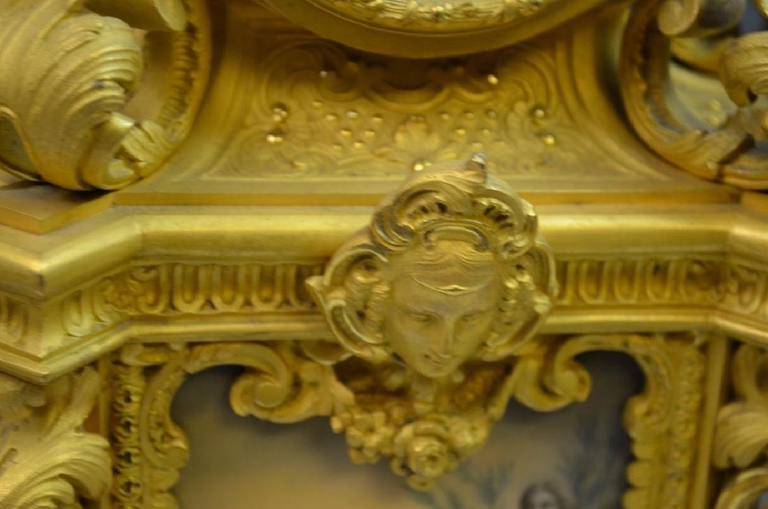 French Gilt Bronze & Enamel Clock Set - 5