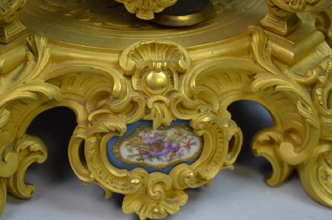 French Gilt Bronze & Enamel Clock Set - 6