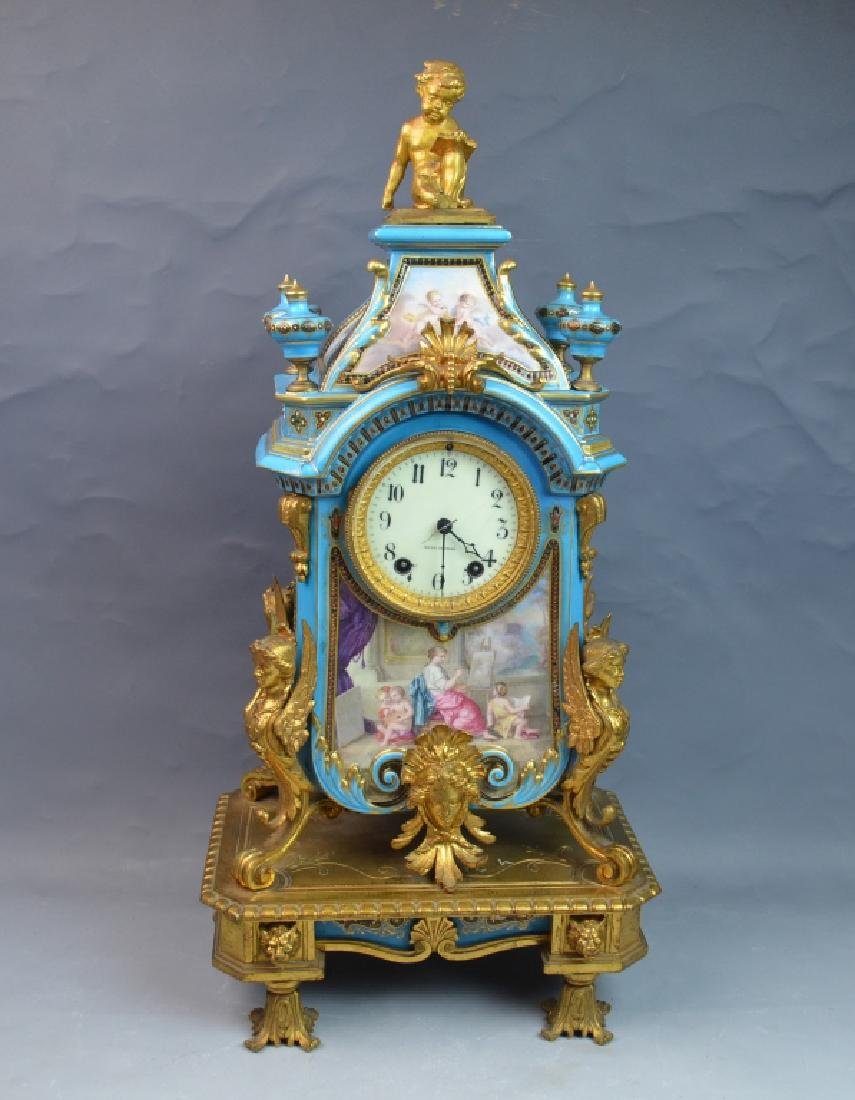 Gilt Bronze Mounted Turquoise Ground Sevres Clock