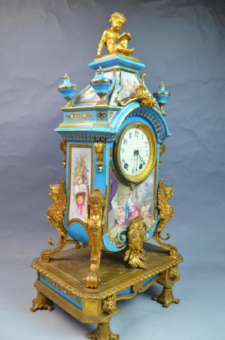 Gilt Bronze Mounted Turquoise Ground Sevres Clock - 4