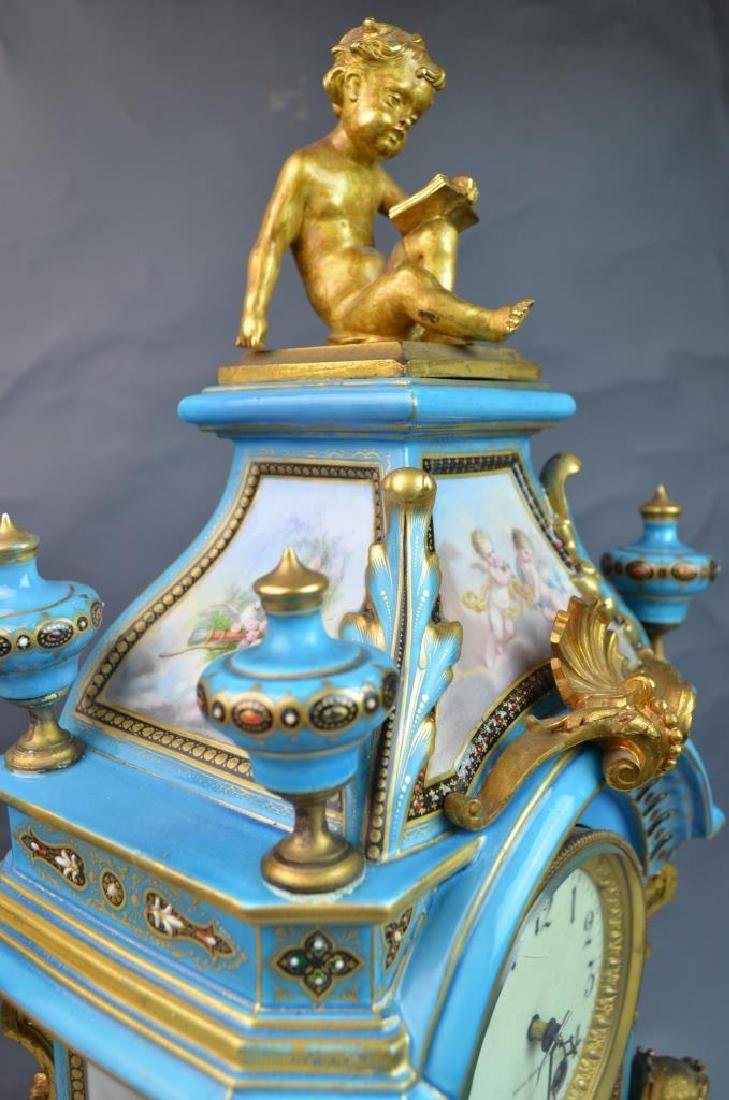 Gilt Bronze Mounted Turquoise Ground Sevres Clock - 5
