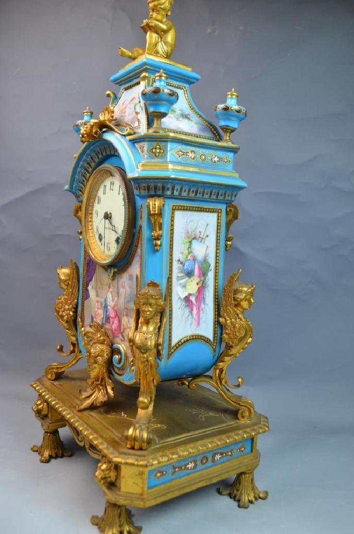 Gilt Bronze Mounted Turquoise Ground Sevres Clock - 6