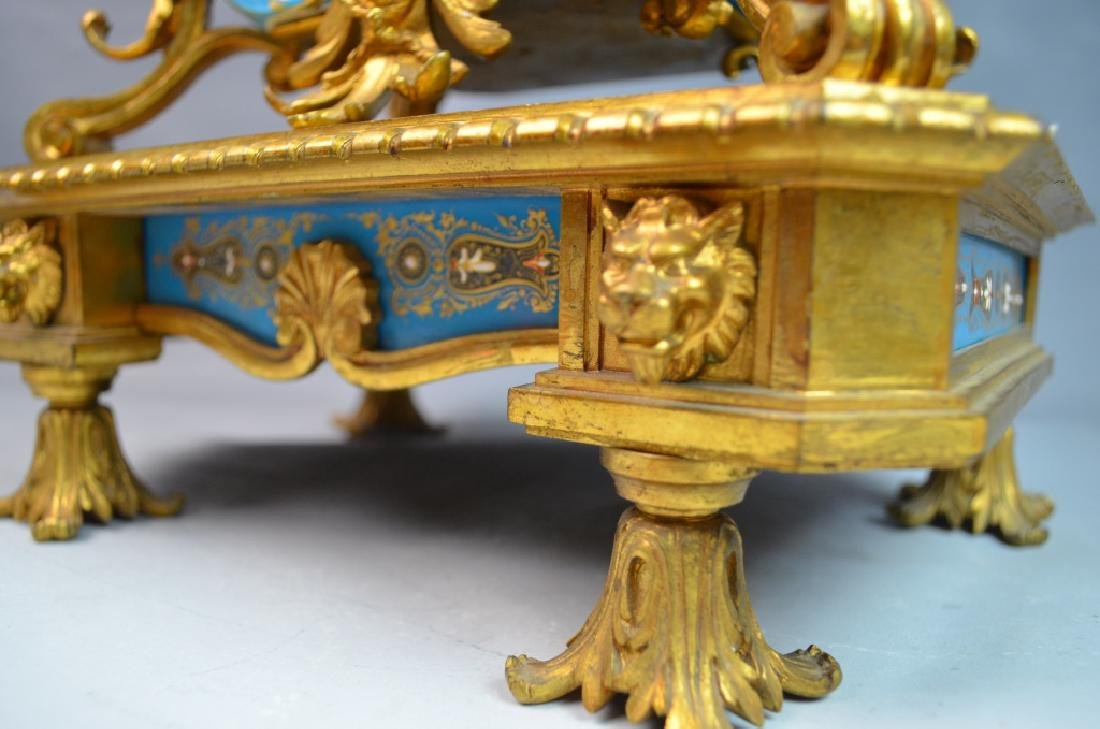 Gilt Bronze Mounted Turquoise Ground Sevres Clock - 7