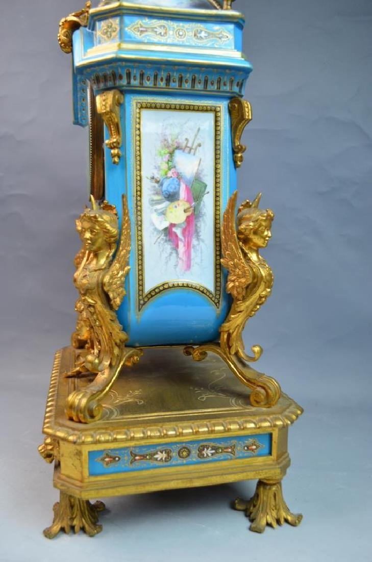 Gilt Bronze Mounted Turquoise Ground Sevres Clock - 8