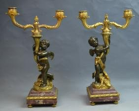 Pair of Bronze & Marble Cupid Candelabra Signed