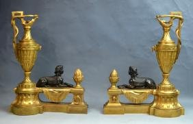 Pr.Gilt Bronze & Patinated Egyptian Style Chenets