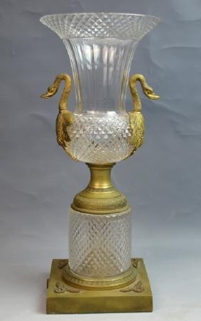 Russian Crystal & Bronze Swan Vase with Handles