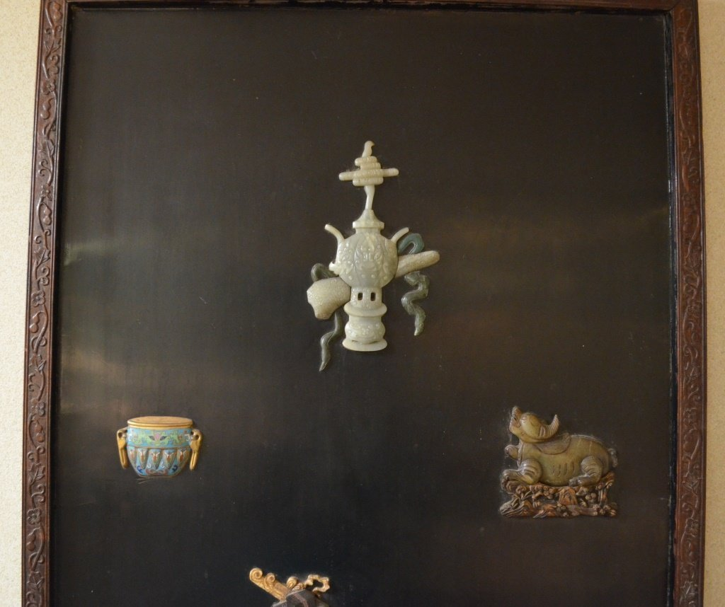 Chinese Wood Panel Inlaid with Carved Jadeite - 2