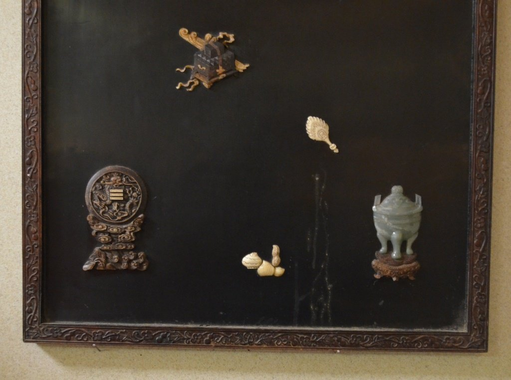 Chinese Wood Panel Inlaid with Carved Jadeite - 3