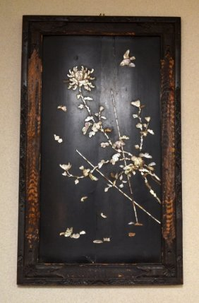Chinese Wood Panel Inlaid with Mother Pearl
