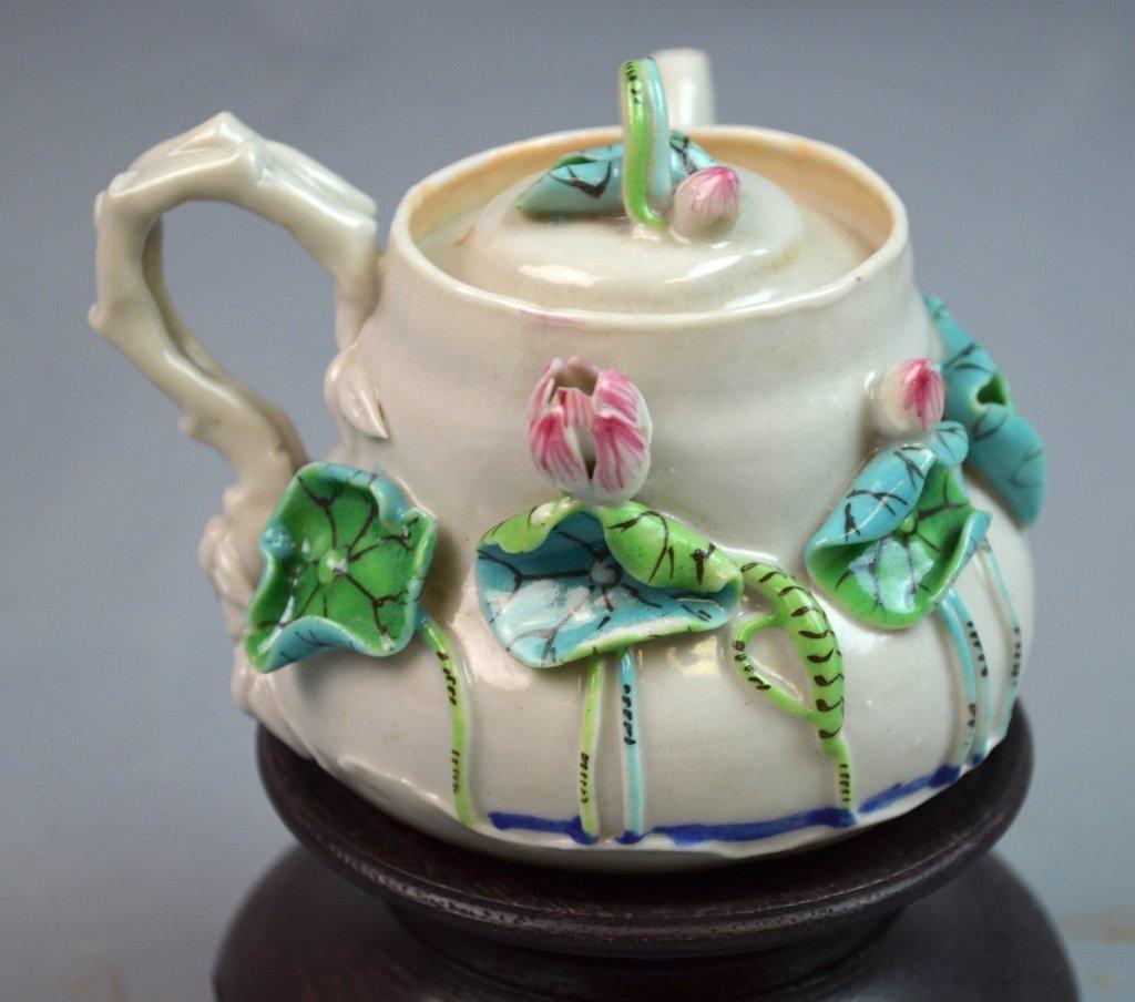 Chinese Famille Rose Porcelain Tea Pot w/ Lotus - 2