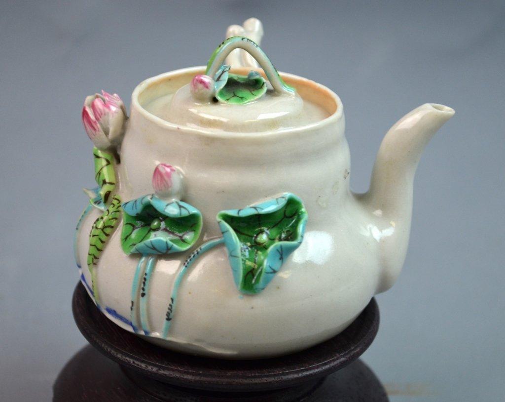 Chinese Famille Rose Porcelain Tea Pot w/ Lotus - 3