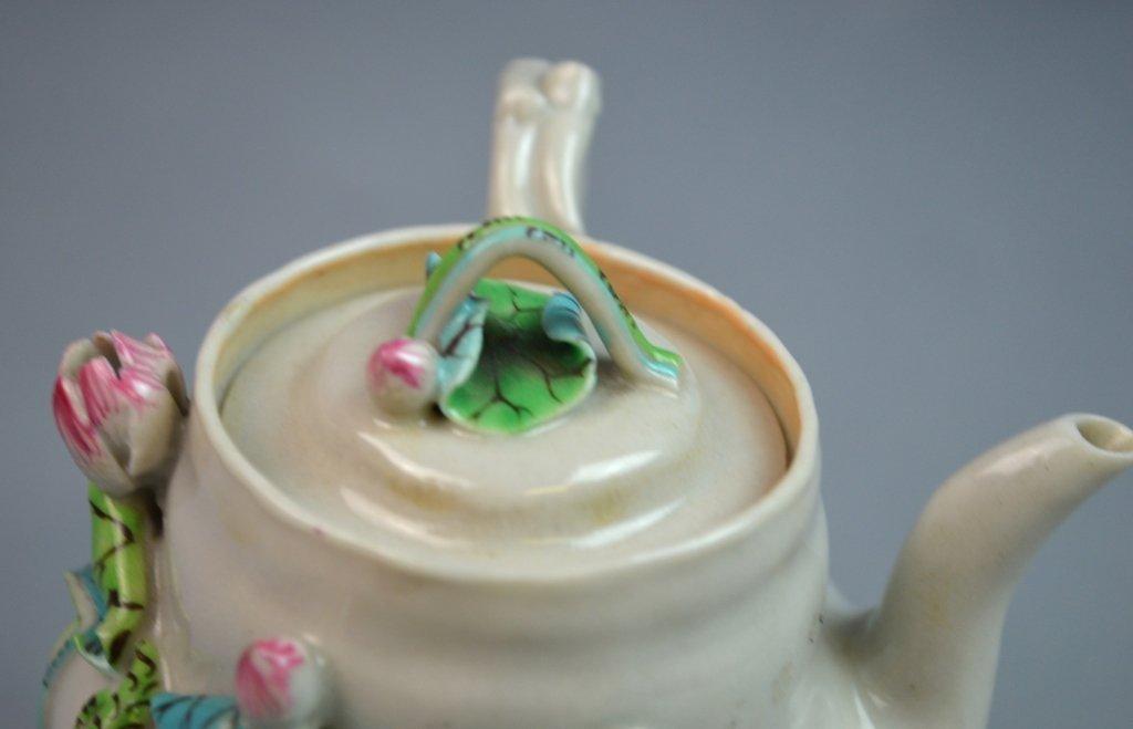 Chinese Famille Rose Porcelain Tea Pot w/ Lotus - 4