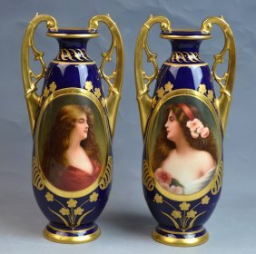 Pair of Royal Vienna Vases Signed Wagner