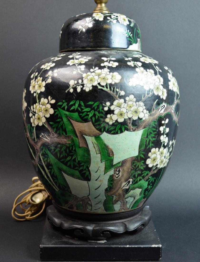 Chinese Black Ground Famille Verte Porcelain Lamp